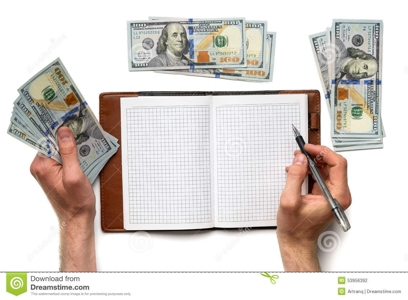 record expenses in notebook stock photo image of holding