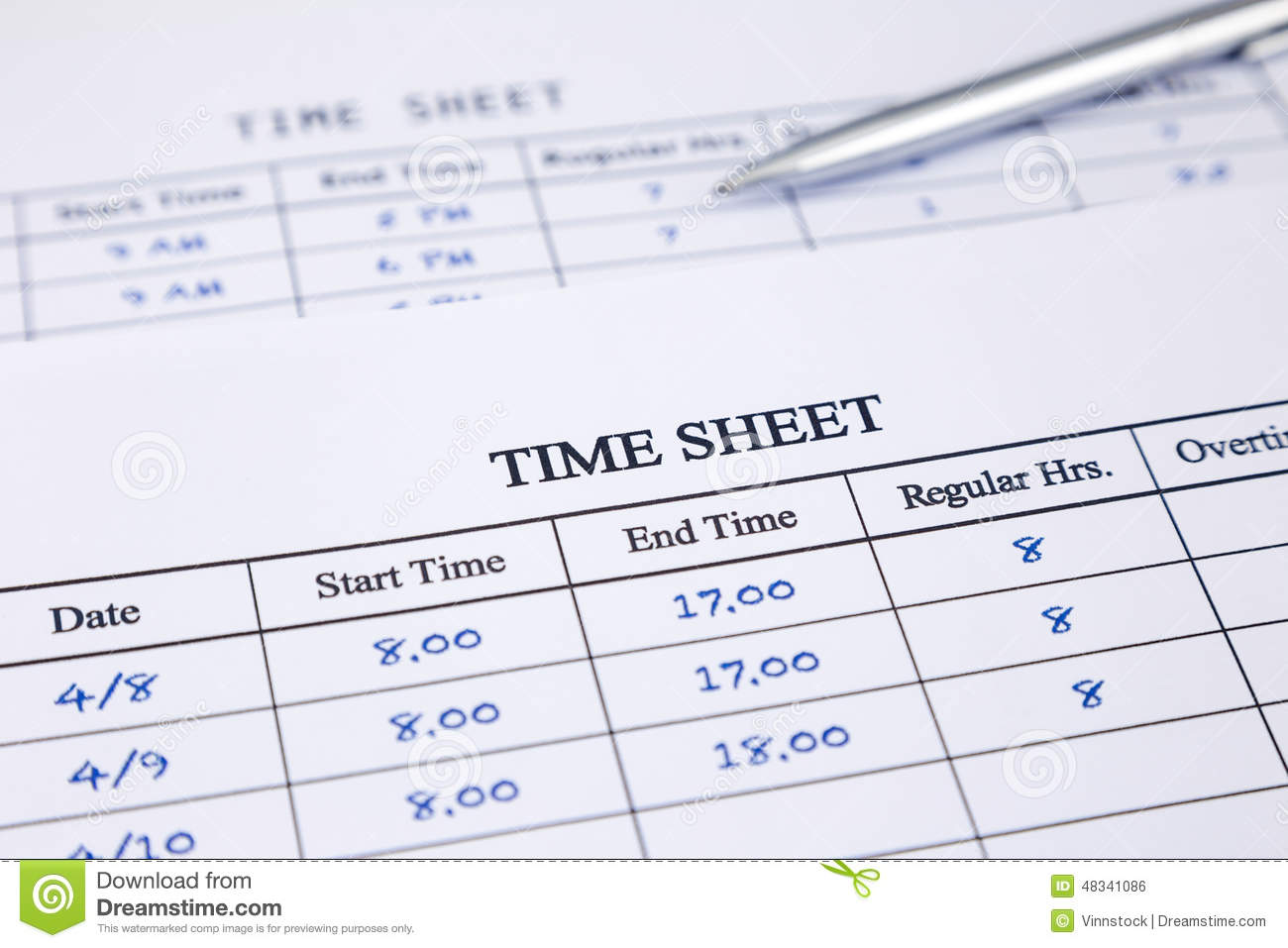 record working times stock photo image of time document 48341086