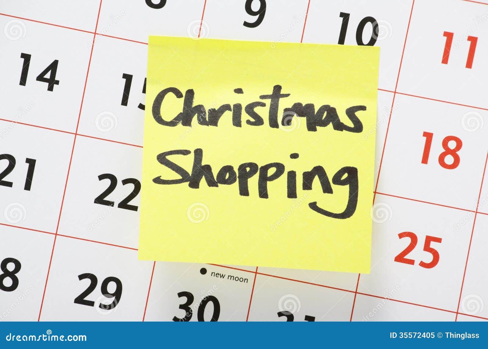 Recordatorio de las compras de la Navidad