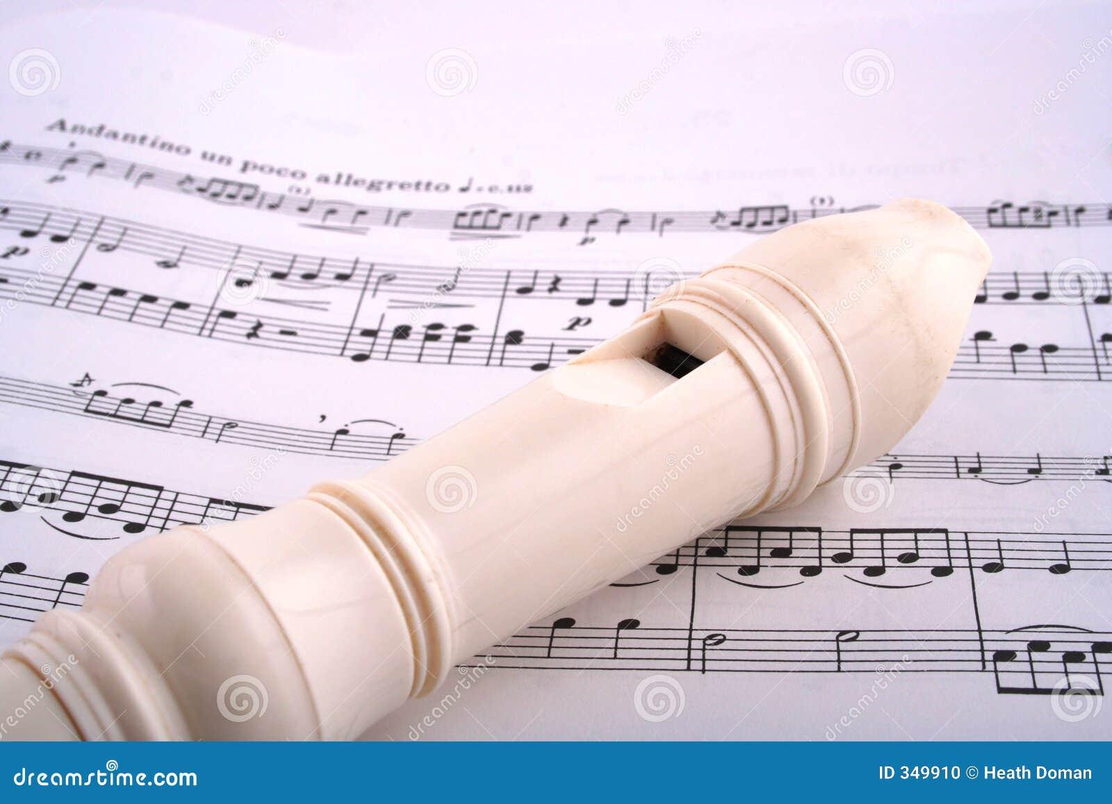 Recorder on sheet music