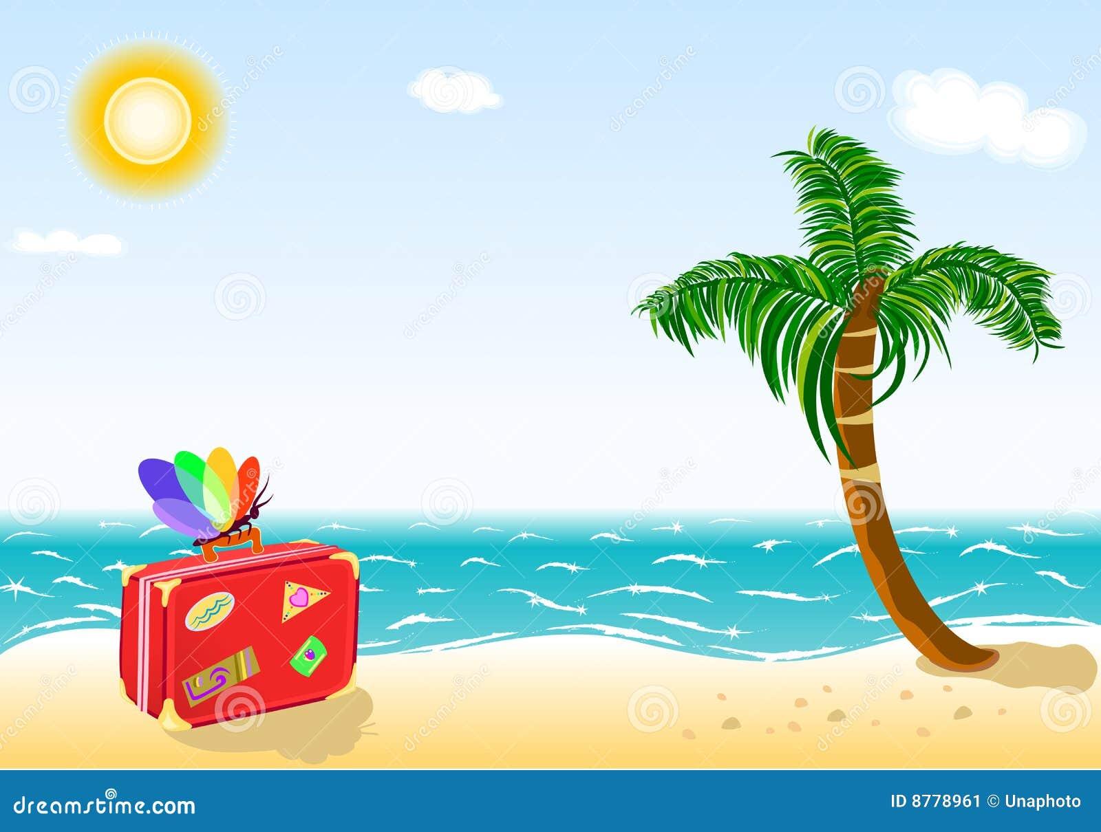 Recorrido De Las Vacaciones De Verano A La Playa Tropical Imagen ...
