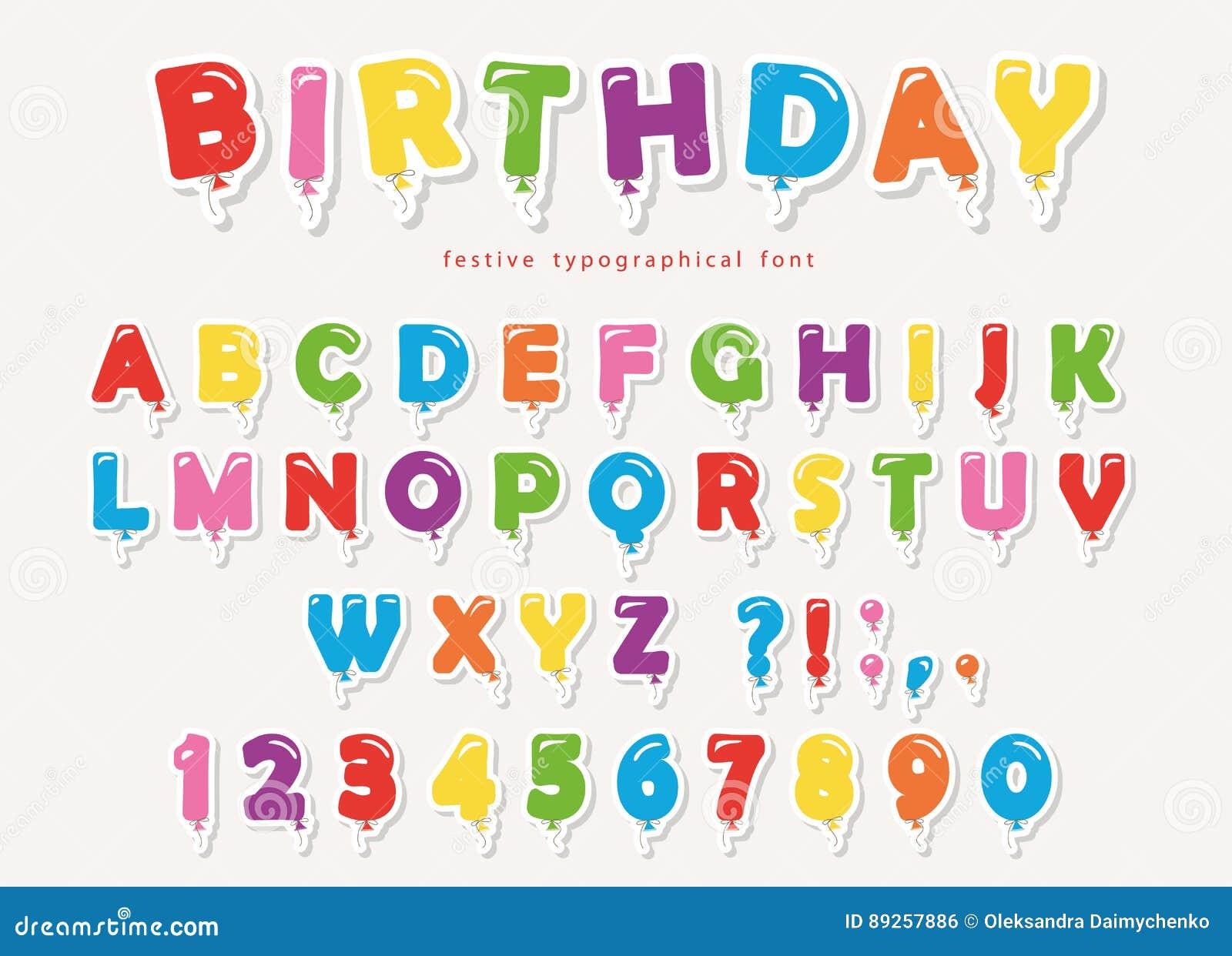 Recorte colorido del papel de la fuente del globo letras y - Fuente letra infantil ...