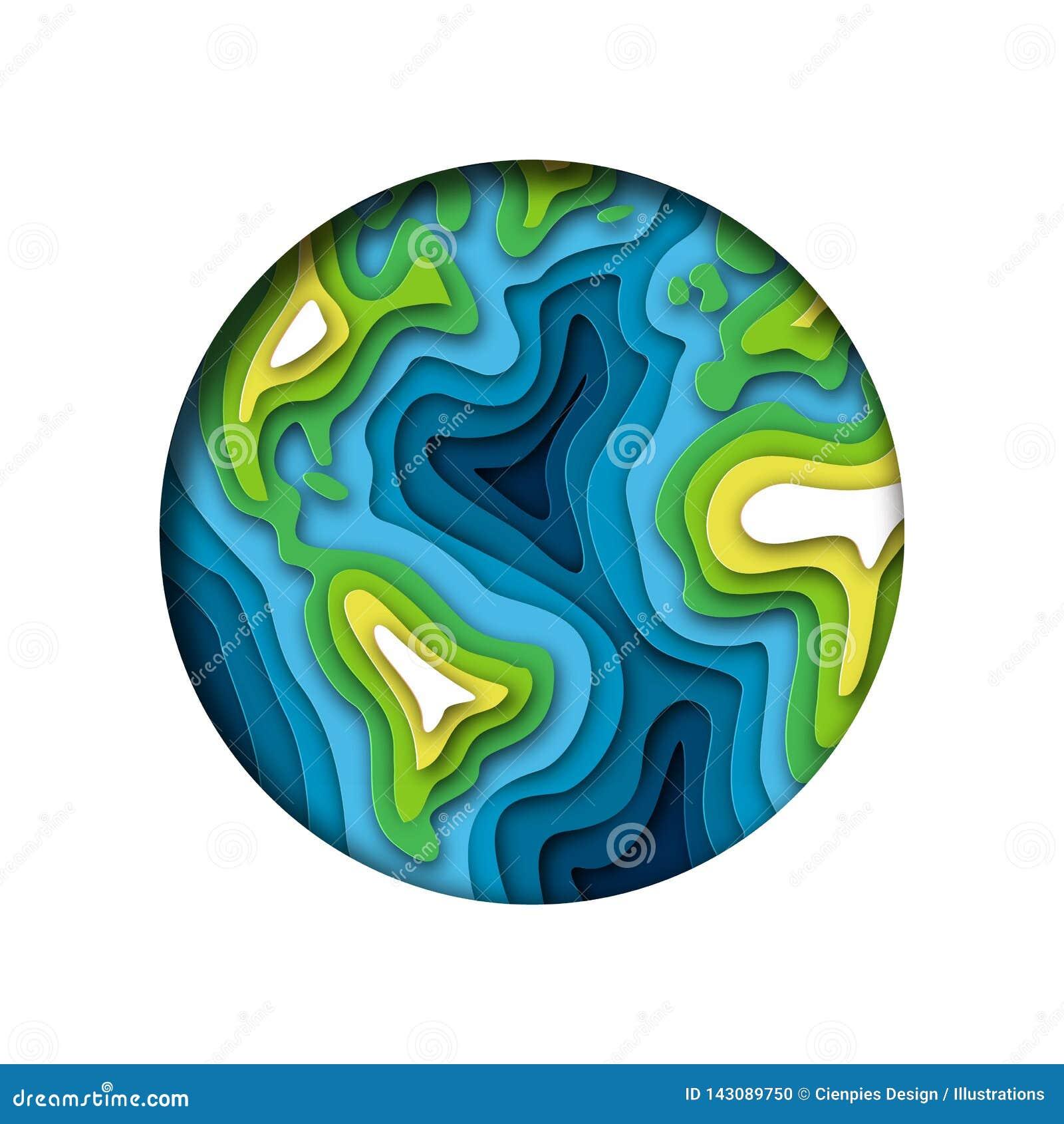 Recorte de papel acodado aislado tierra verde del planeta