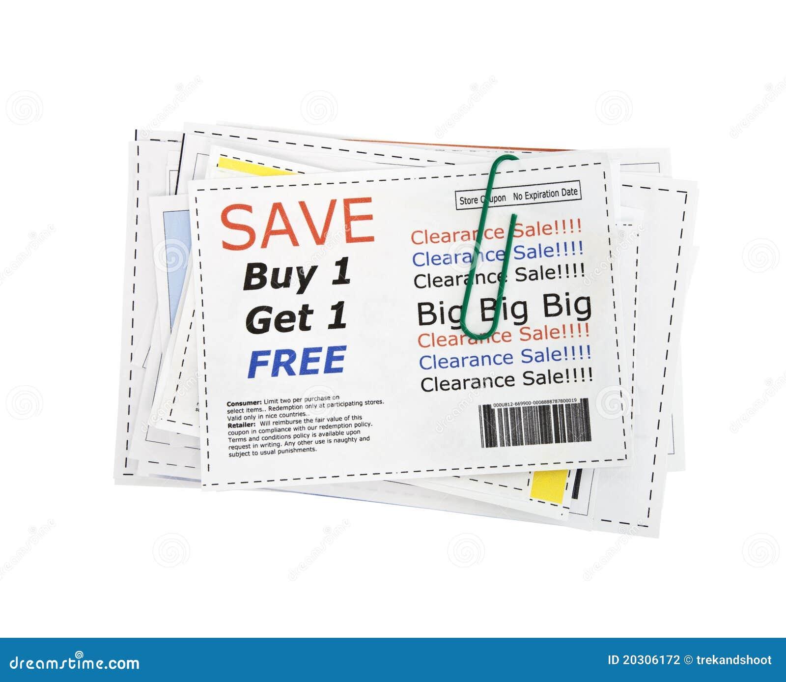 Recortes falsos de la cupón con el clip de papel