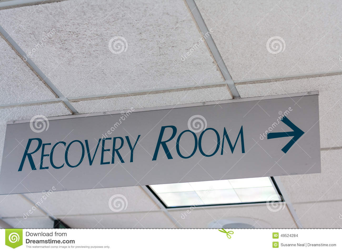 recovery room sign on hospital ceiling stock photo