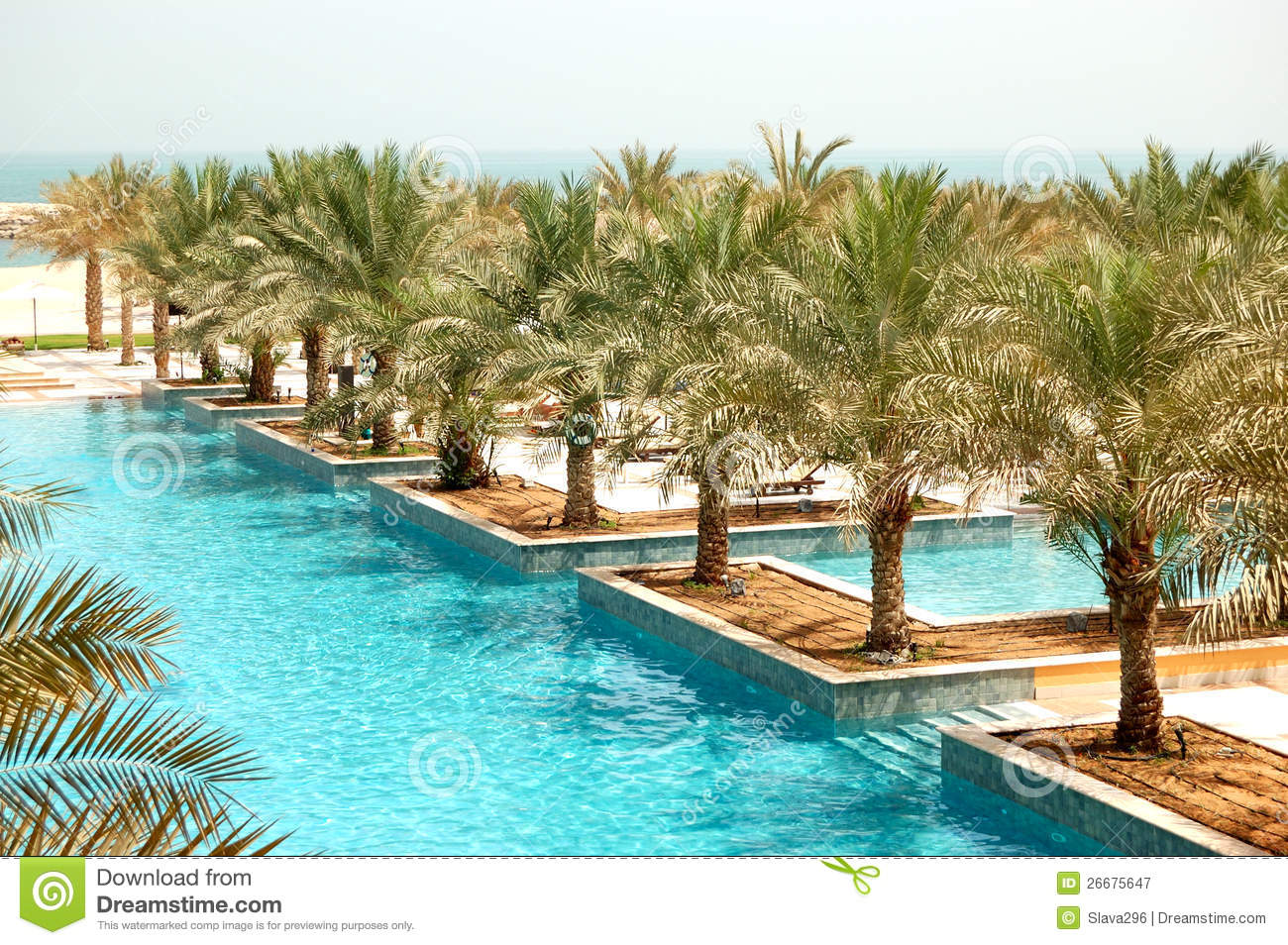 Recreation area of luxury hotel and swimming pool royalty for Luxury pool area