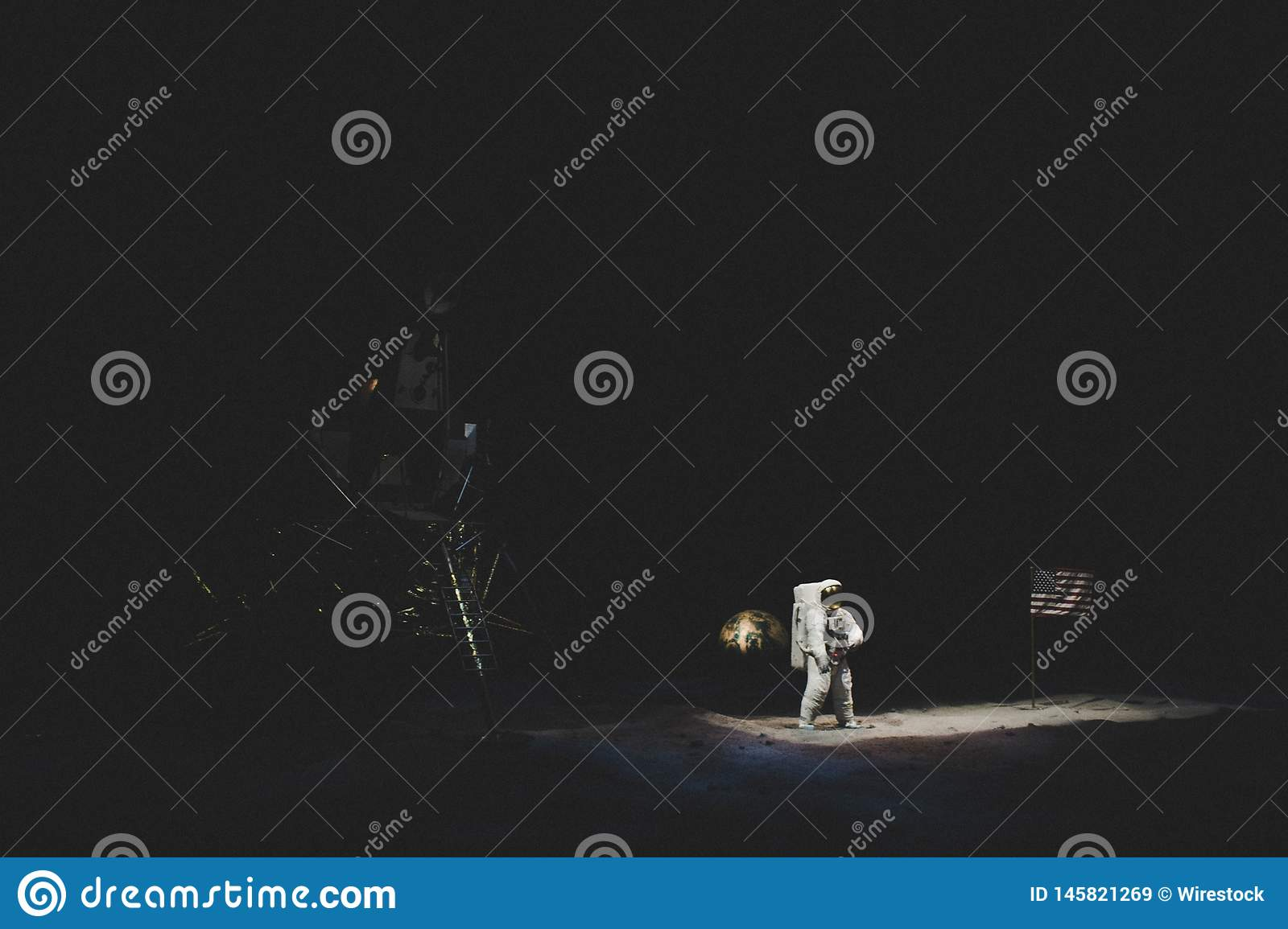 A recreation of the moon landing at NASA museum