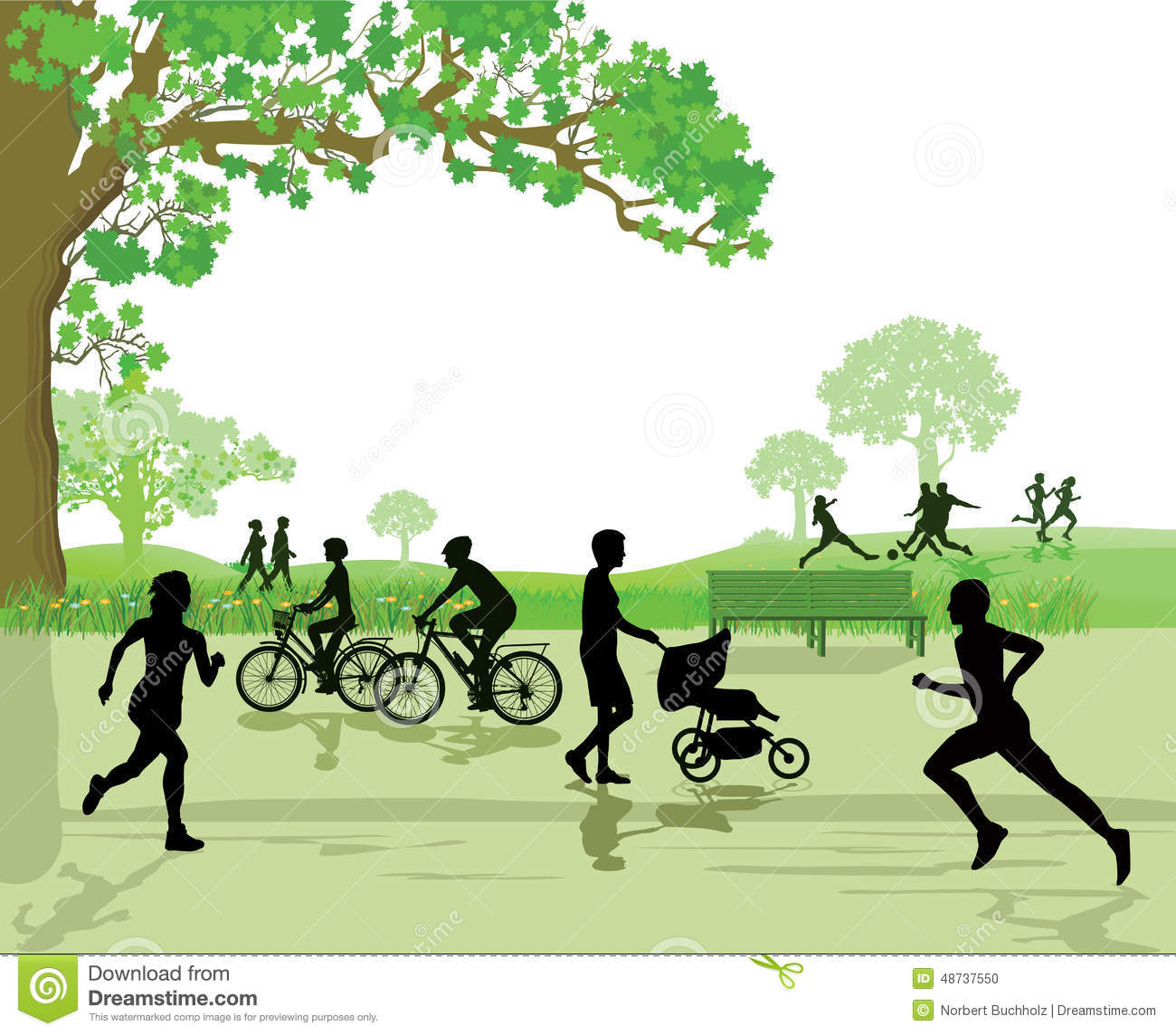 Recreation And Sports In The Park Stock Vector