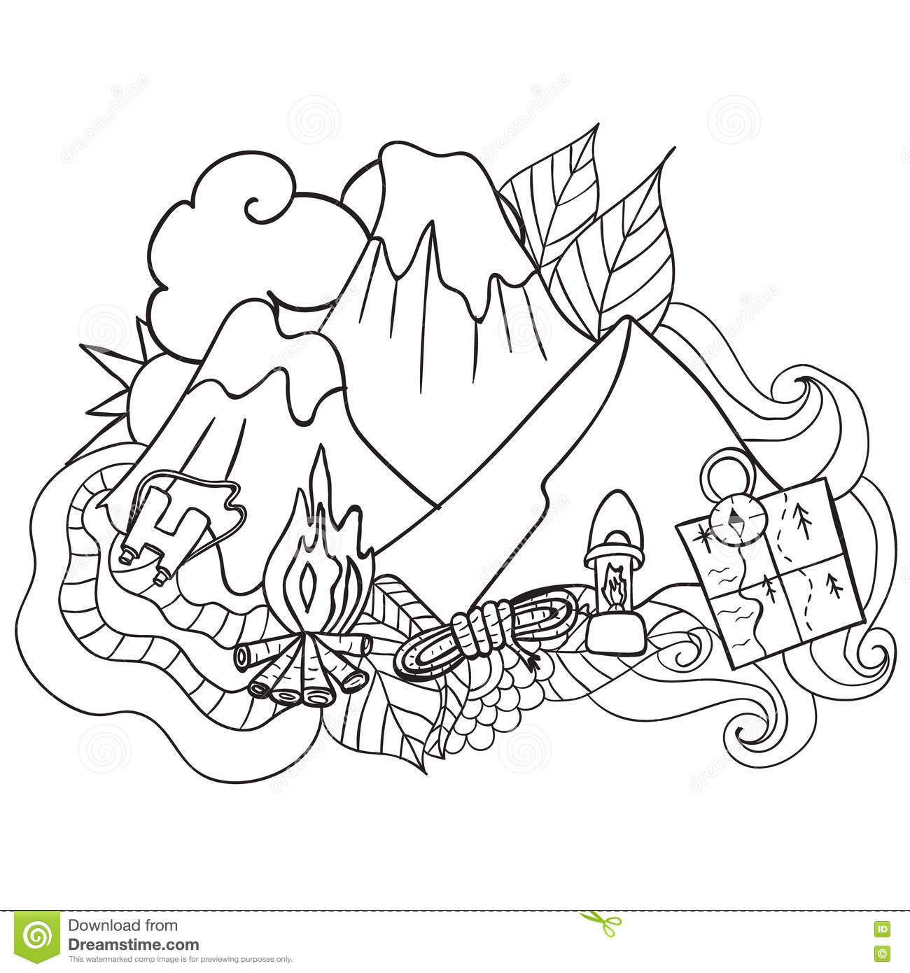 recreation tourism and camping hand drawn doodle elements