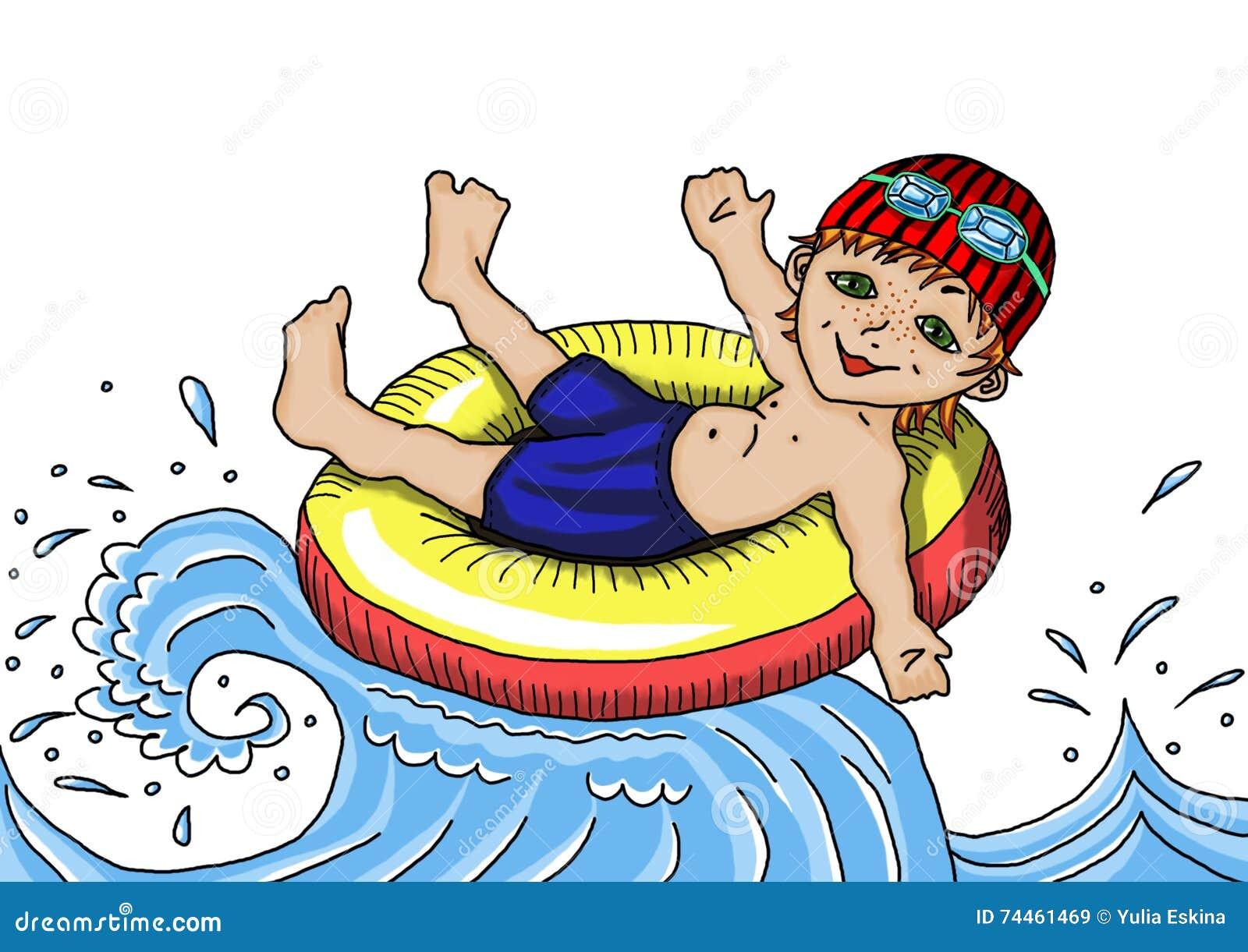 Recreation On The Water. Sea Bathing. Stock Illustration ...