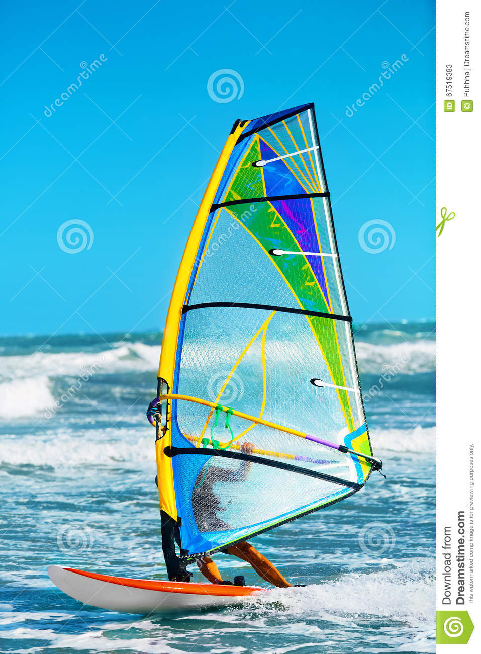 Recreational Extreme Water Sports. Windsurfing. Surfing Wind Act