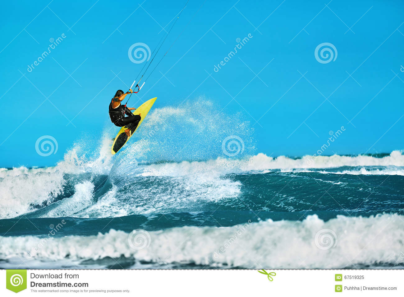 Recreational Water Sports Action. Kiteboarding Extreme Sport. Summer Fun. Hobby