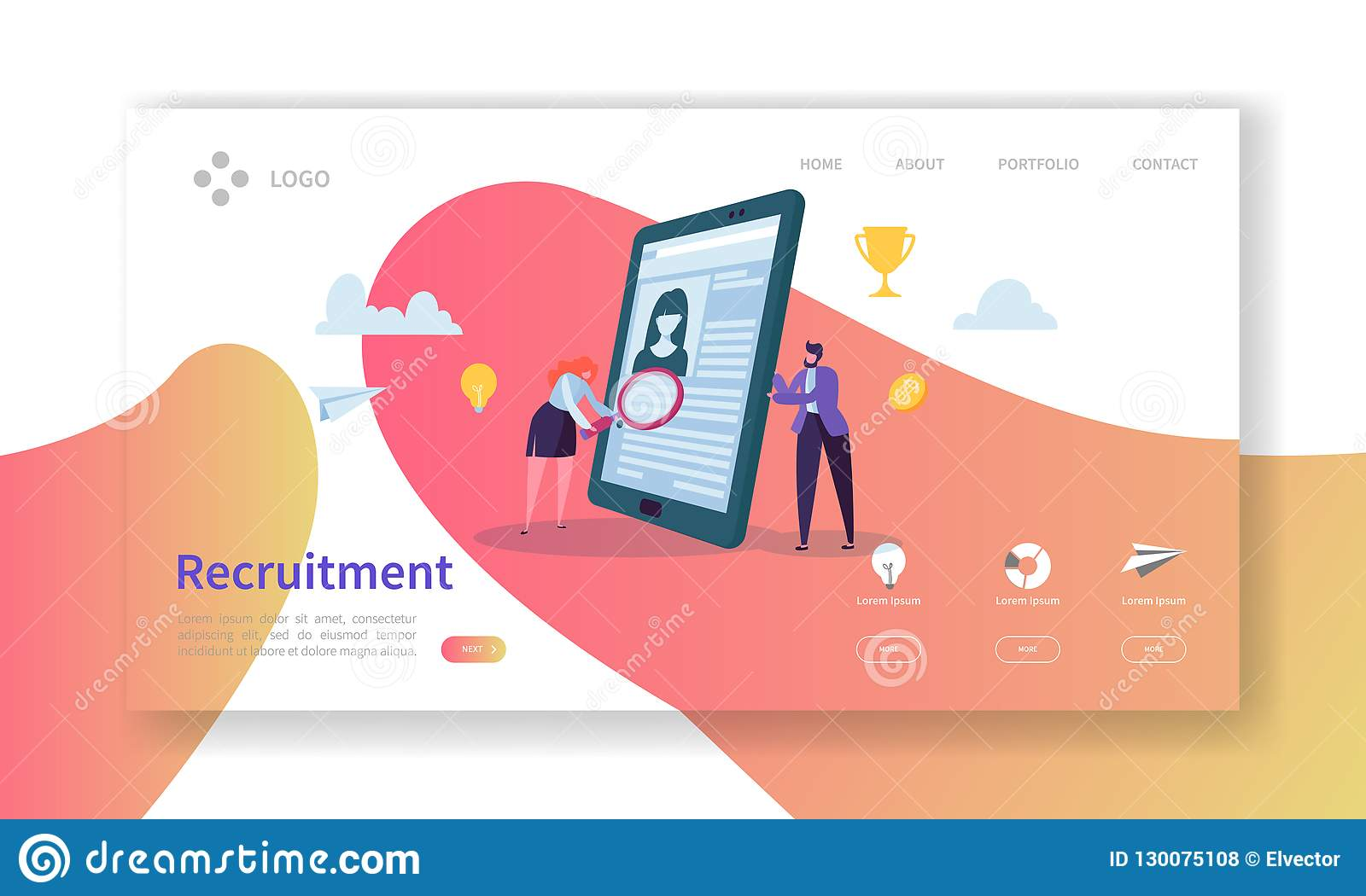 Recruitment, Job Interview Concept Landing Page. Vacancy Flat People Characters HR Managers Website Template. Easy Edit