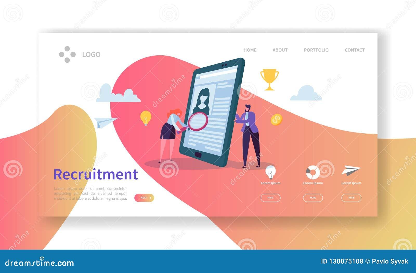 recruitment job interview concept landing page vacancy flat people