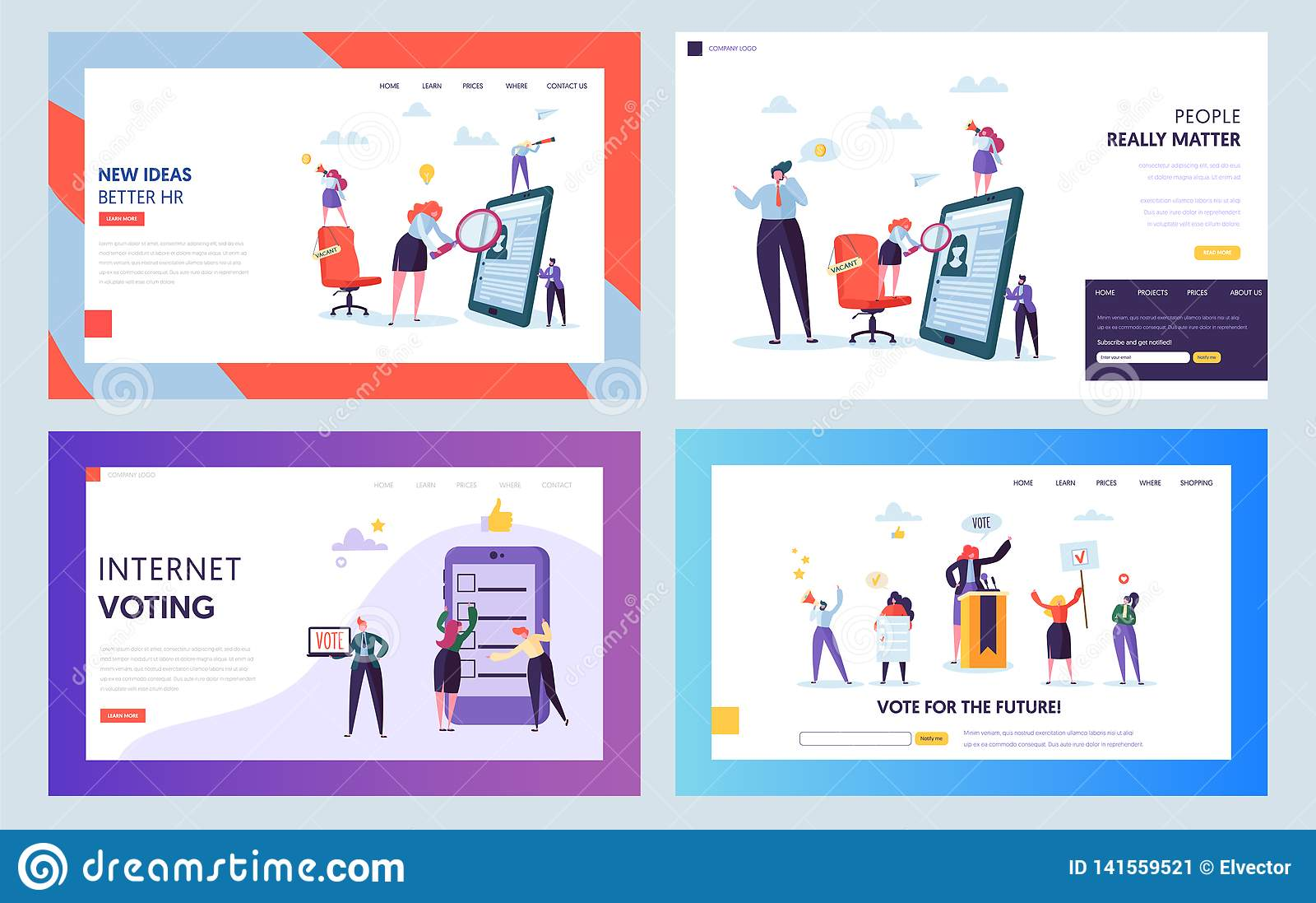 Recruitment Job Interview Concept Landing Page. Vacant Sign on Chair. Male and Female Character Looking for Candidate Website