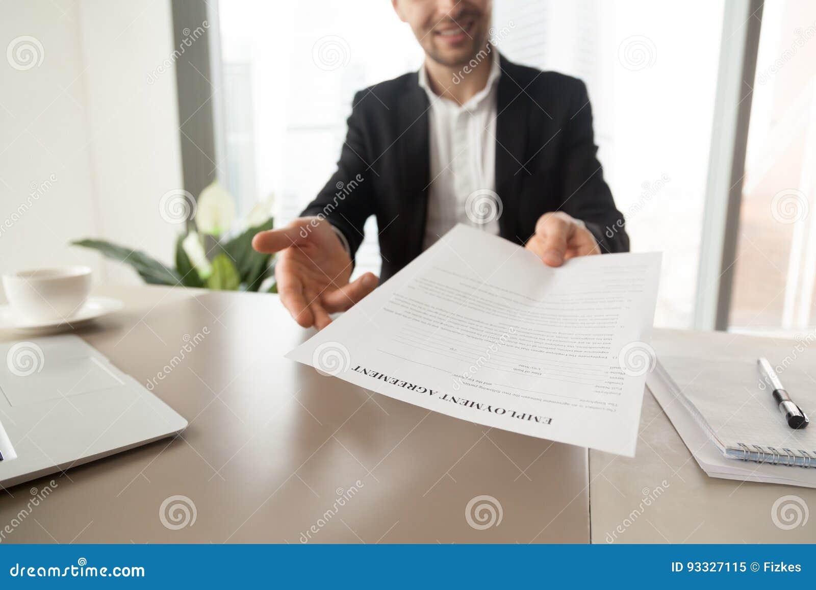 Recruitment manager offers employment agreement