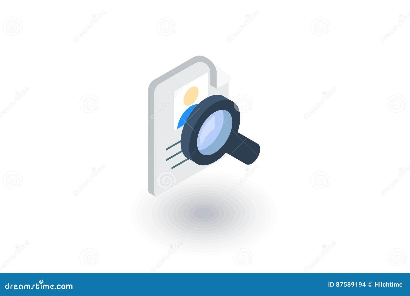 Recruitment, Resume Search, Job, Selecting Staff Isometric