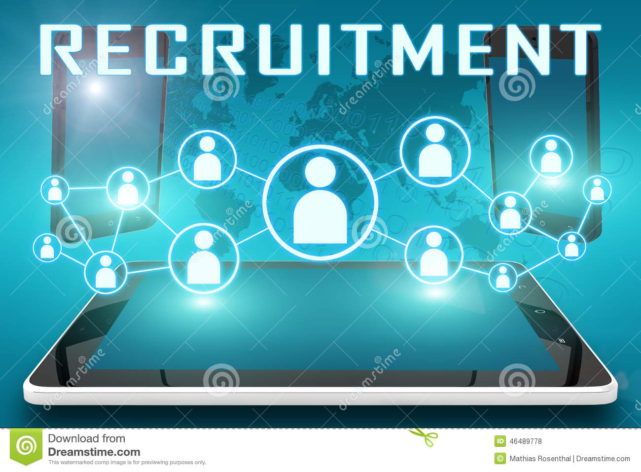 Recruitment - text illustration with social icons and tablet computer ...