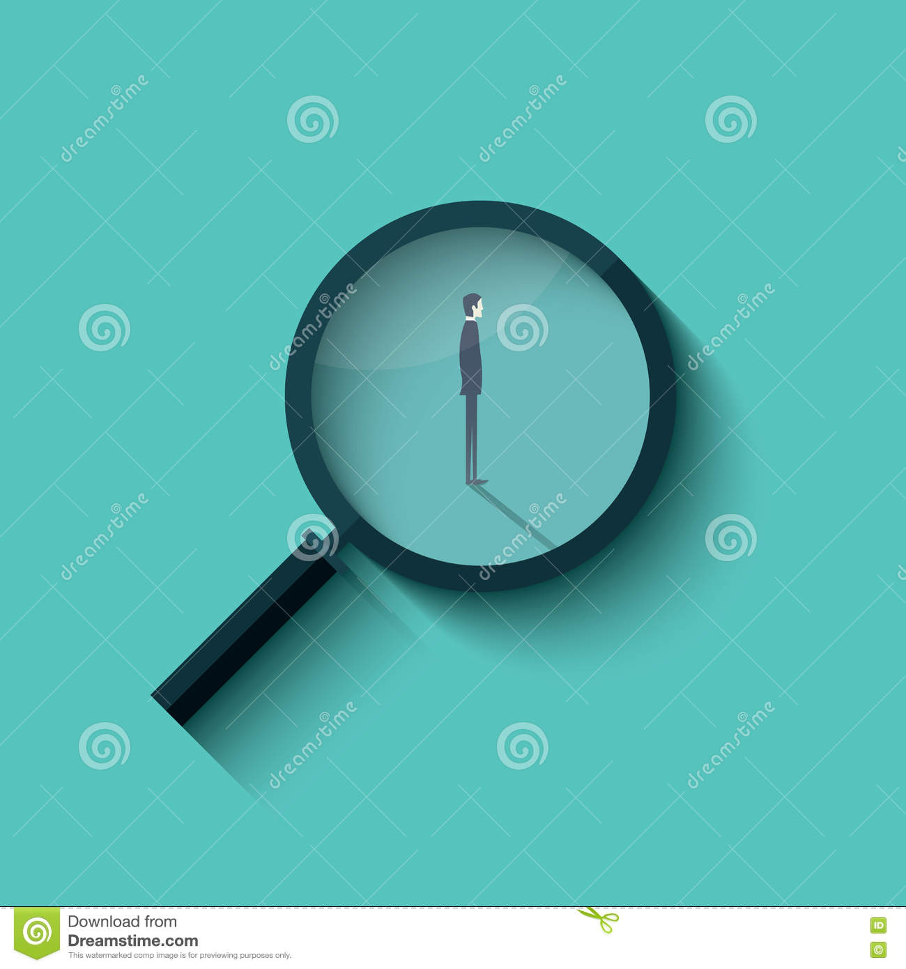 Recruitment Vector With Magnifying Glass And Businessman Business