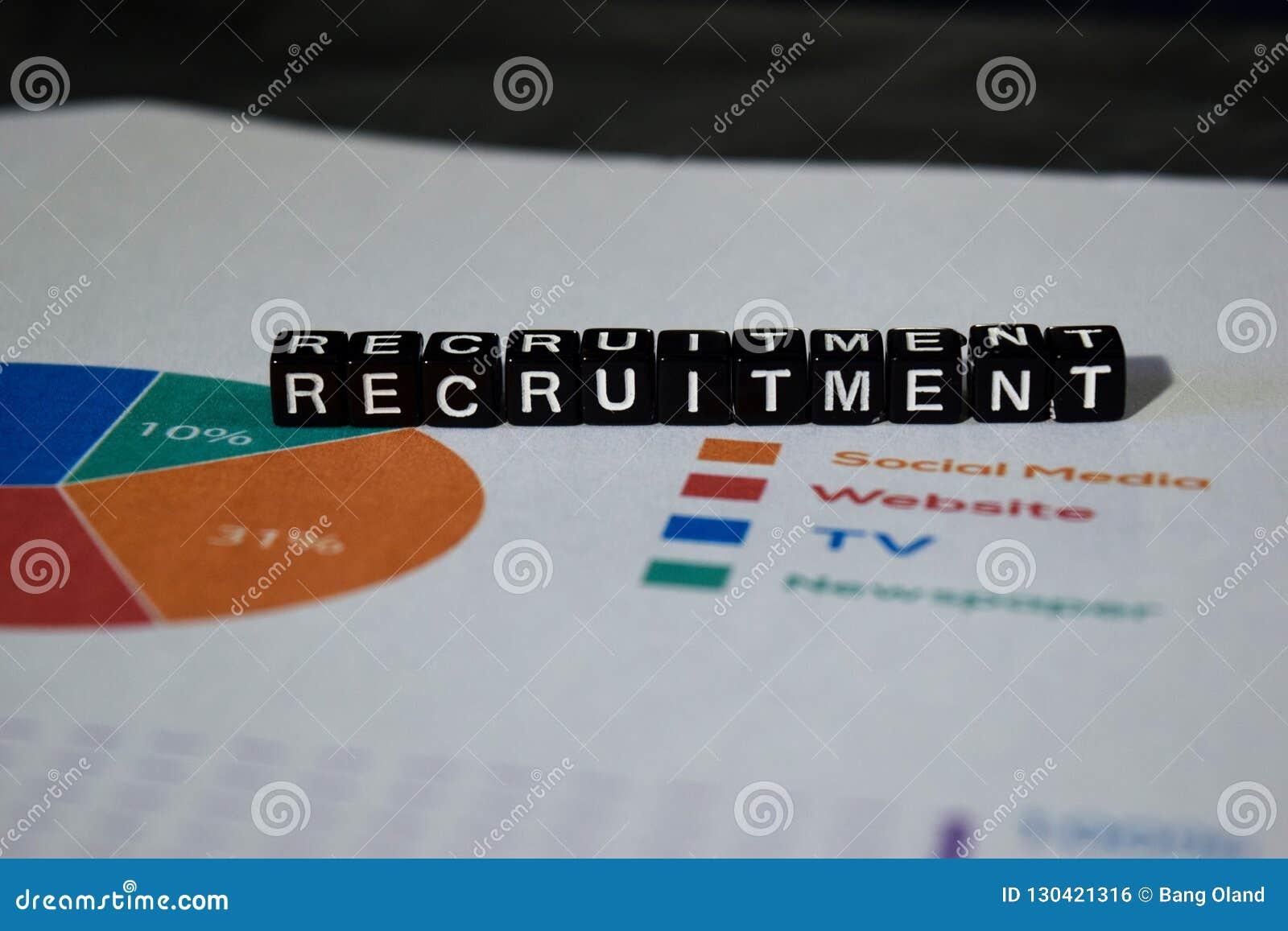 Recruitment on wooden blocks. Job Work Vacancy Search Concept