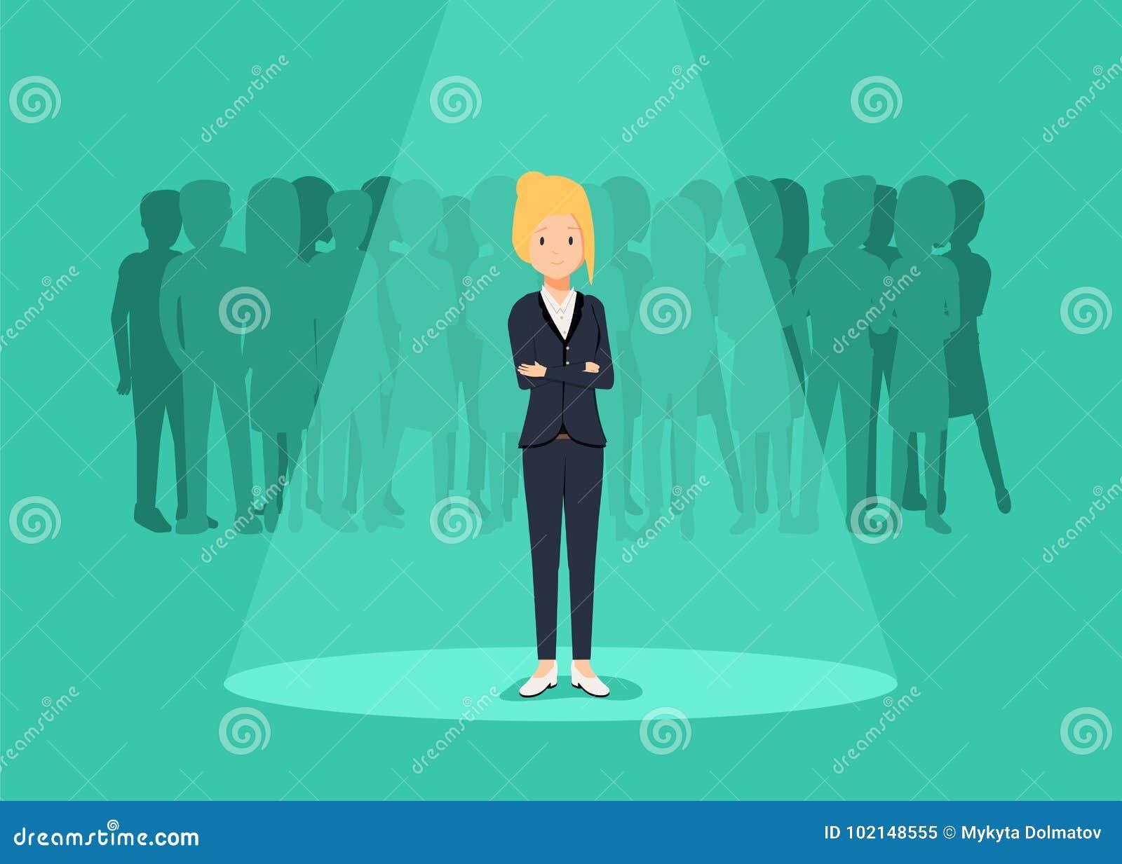Recrutamento do negócio ou conceito de aluguer do vetor Procurando o talento Mulher de negócios que está no projetor ou no search