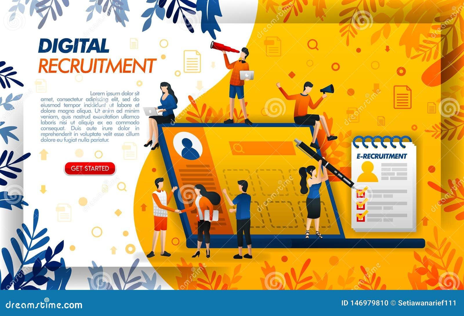 Recrutamento em linha de Digitas para empresas e candidatos a emprego pedido para a hora e os pessoais, ilustration do vetor do c
