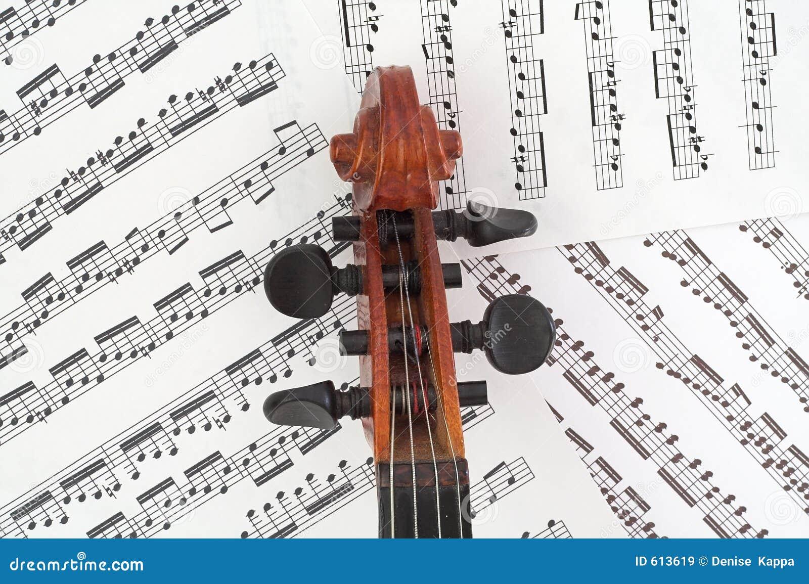 Rectángulo de la clavija del violín con música