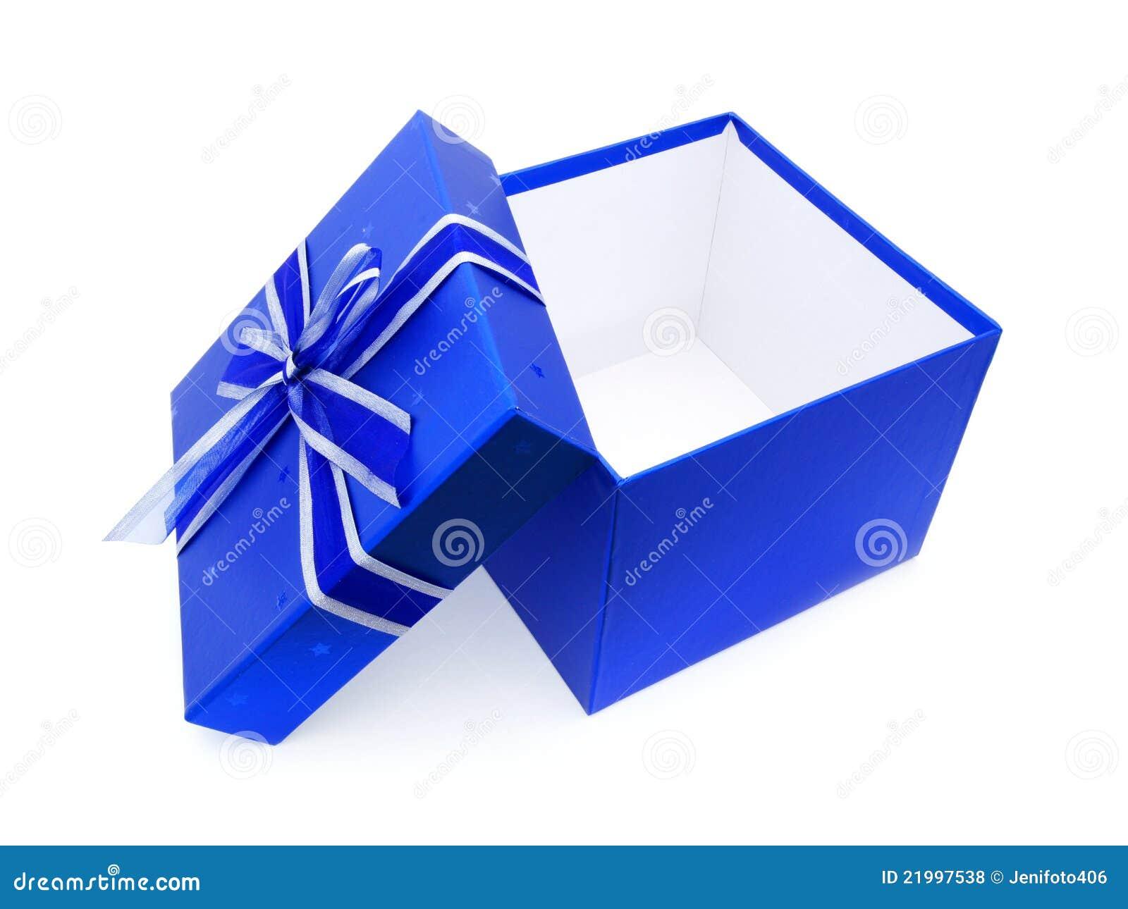 Rectángulo de regalo azul abierto