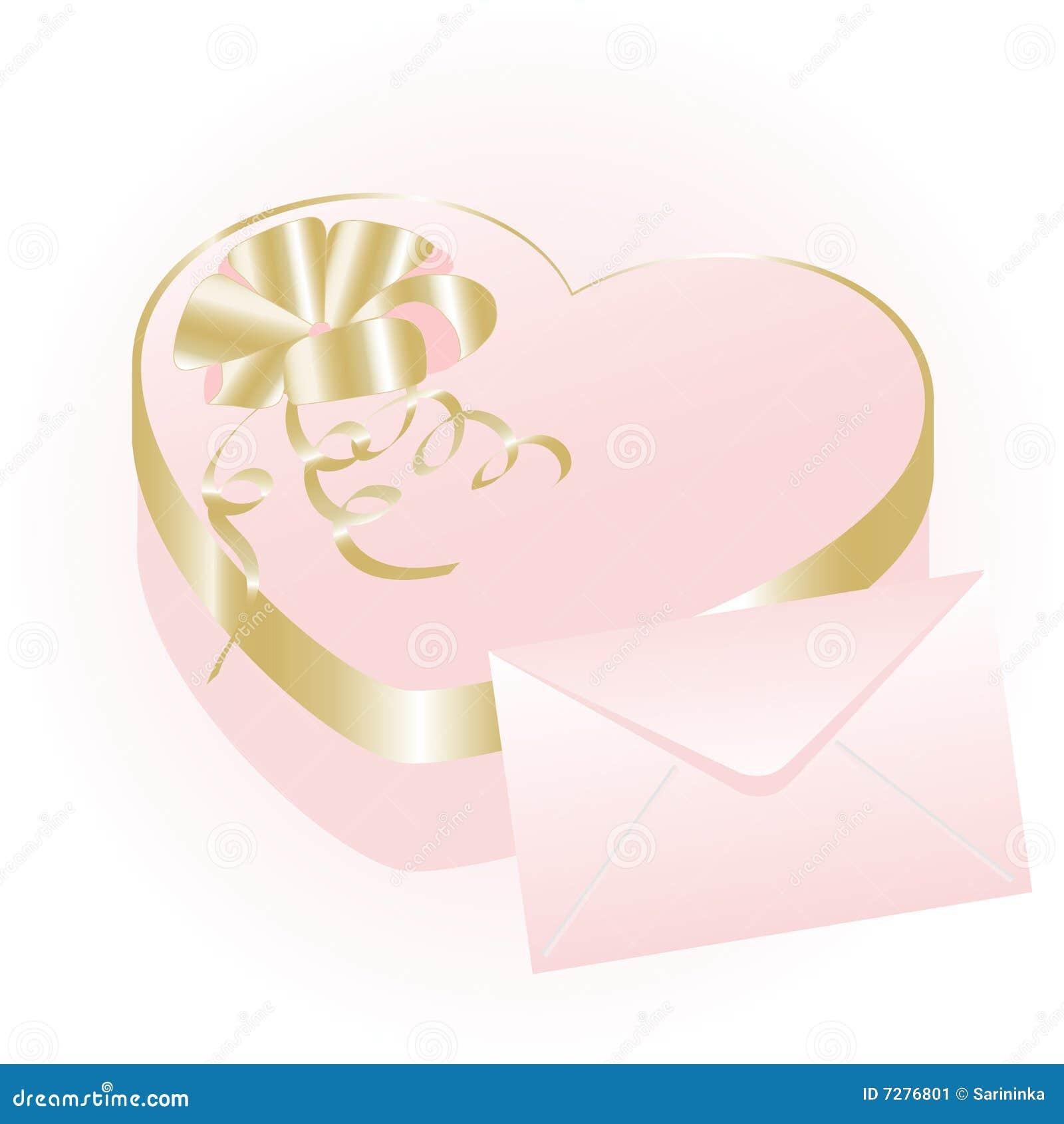 Rectángulo de regalo del corazón de Rose