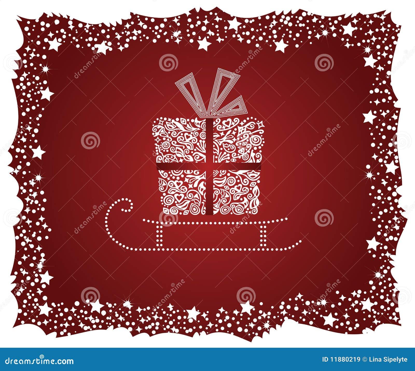 Rectángulo de regalo detallado en un trineo