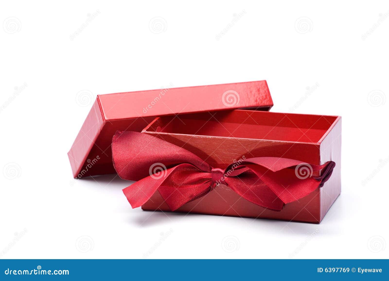 Rectángulo de regalo rojo abierto con el acollador