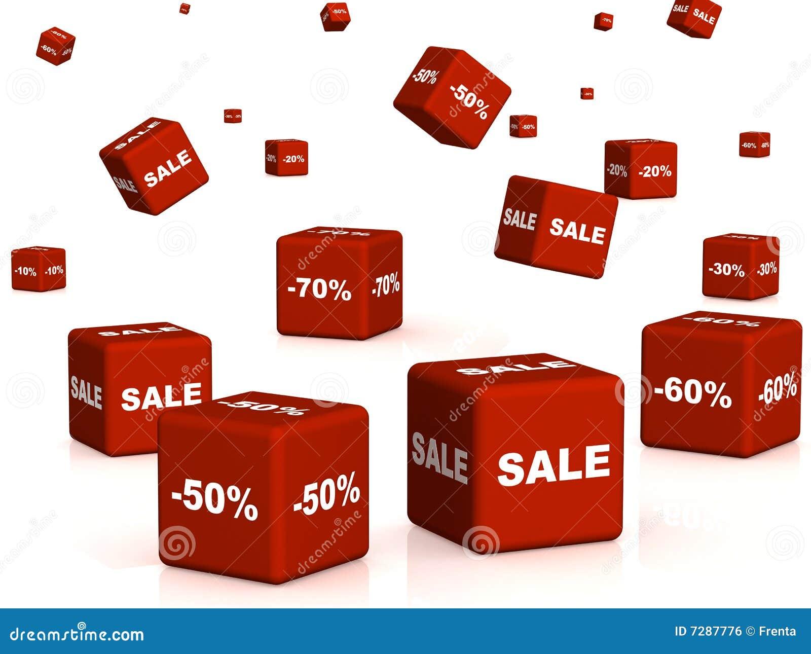 Rectángulos rojos con las mercancías en un descuento