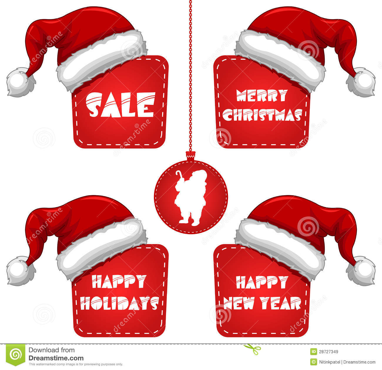 rectangle christmas new year sale tag with cap royalty
