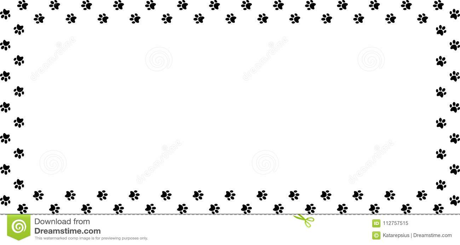 Rectangle Frame Made Of Black Animal Paw Prints On White Background