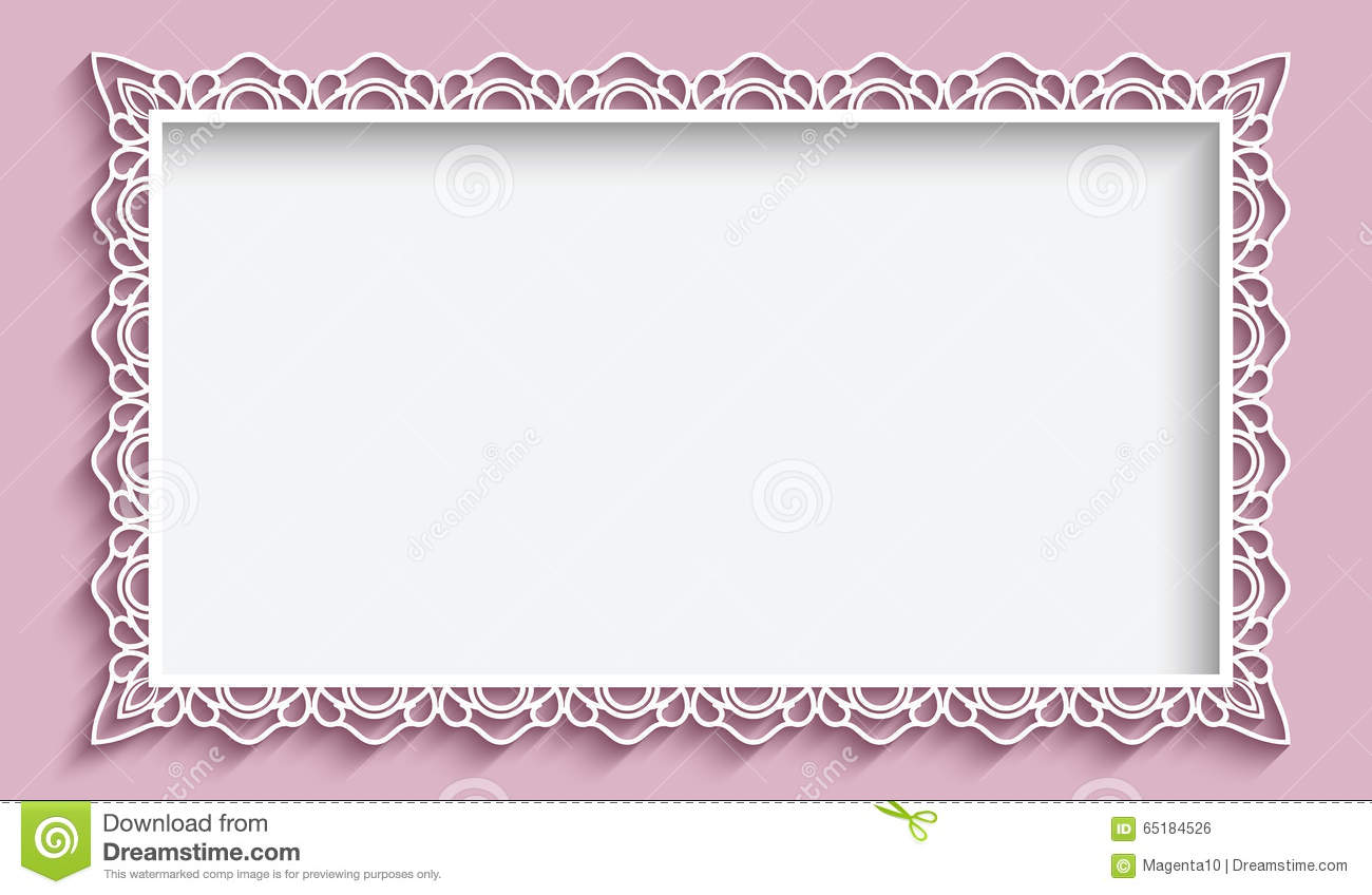 Rectangle Frame With Paper Lace Border Stock Vector - Image: 65184526