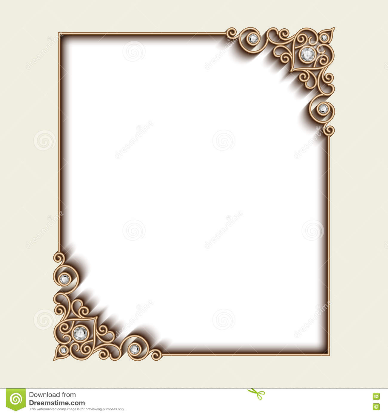 Gold Frame With Jewelry Borders On White Cartoon Vector
