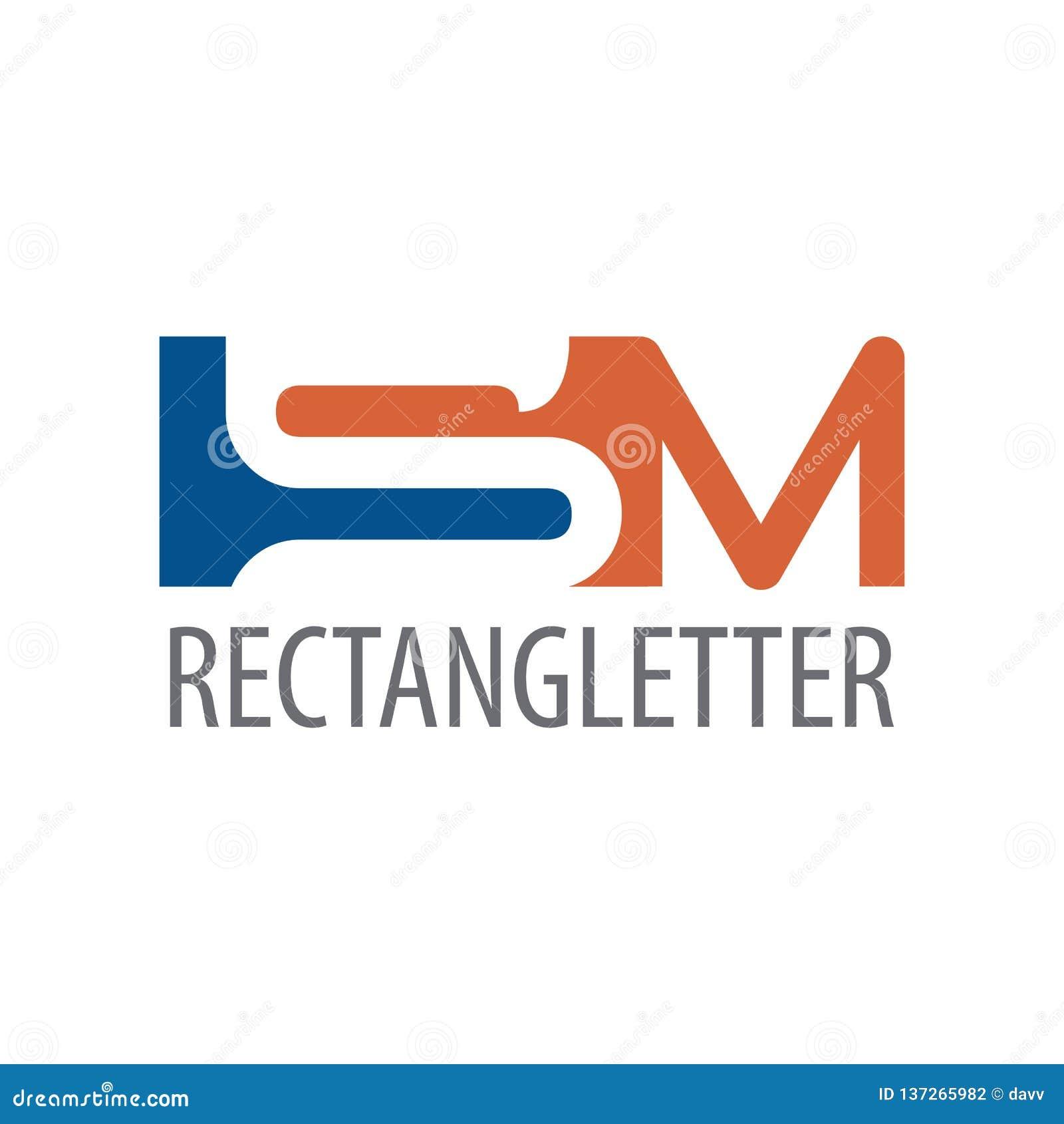 Rectangle initial letter SM logo concept design. Symbol graphic template element
