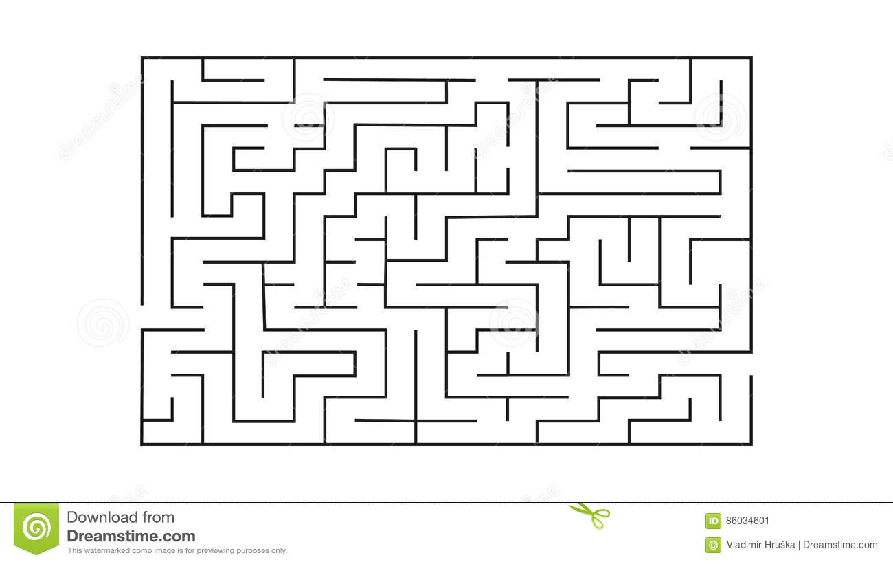 Rectangle Labyrinth With Entry And Exit Vector Game Maze Puzzle With