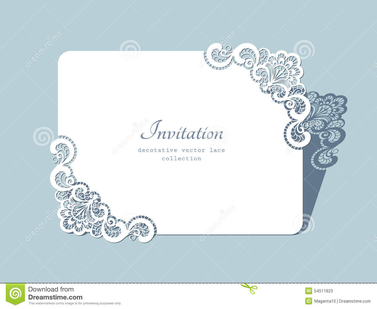 Wedding Invitation Card Paper: Rectangle Lace Frame Stock Vector