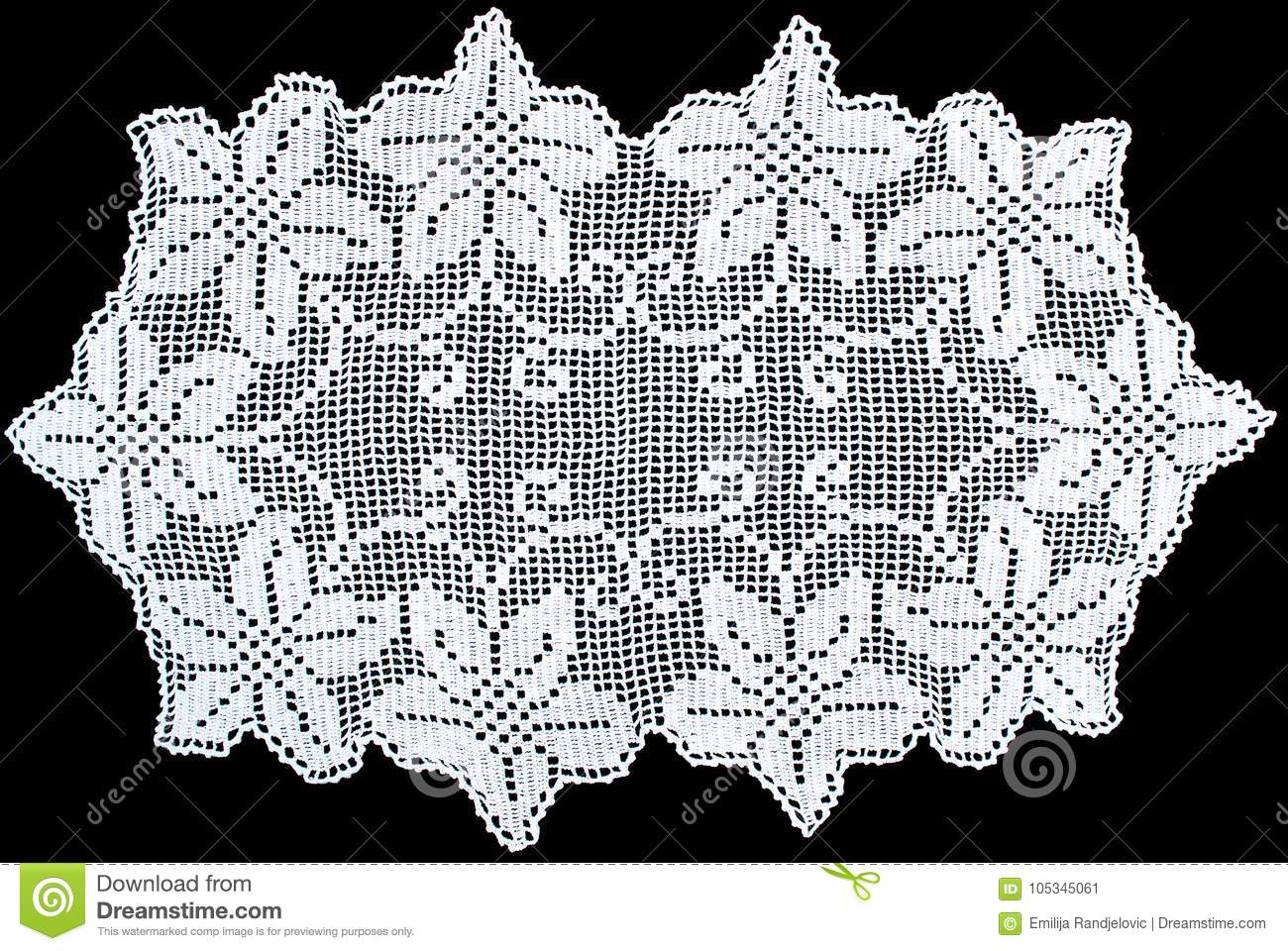 Download Rectangle Lace Tablecloth Isolated On Black Background, Close Up  Stock Image   Image Of