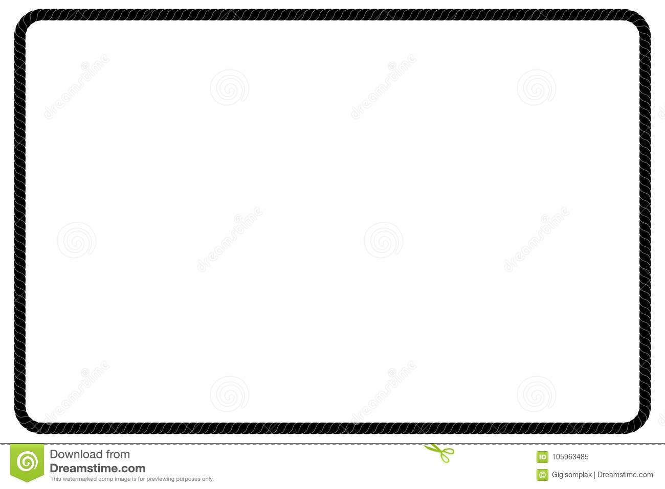 Rectangle Shape Frame From Black Rope For Your Element Design Stock ...