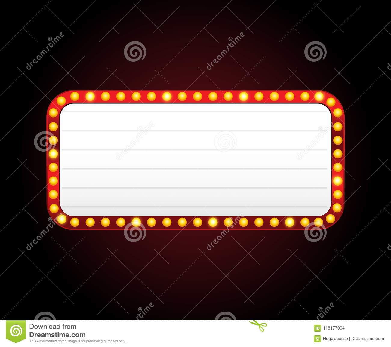 Download Rectangle Vector Theater Sign Frame With Lights Stock