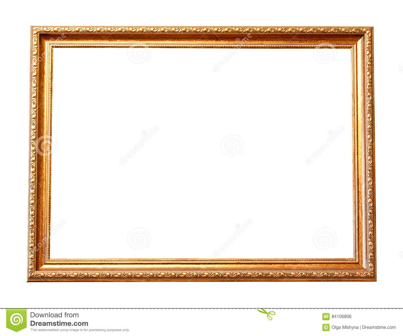Rectangle Wooden Frame. Gold Museum Frame Stock Photo - Image of ...