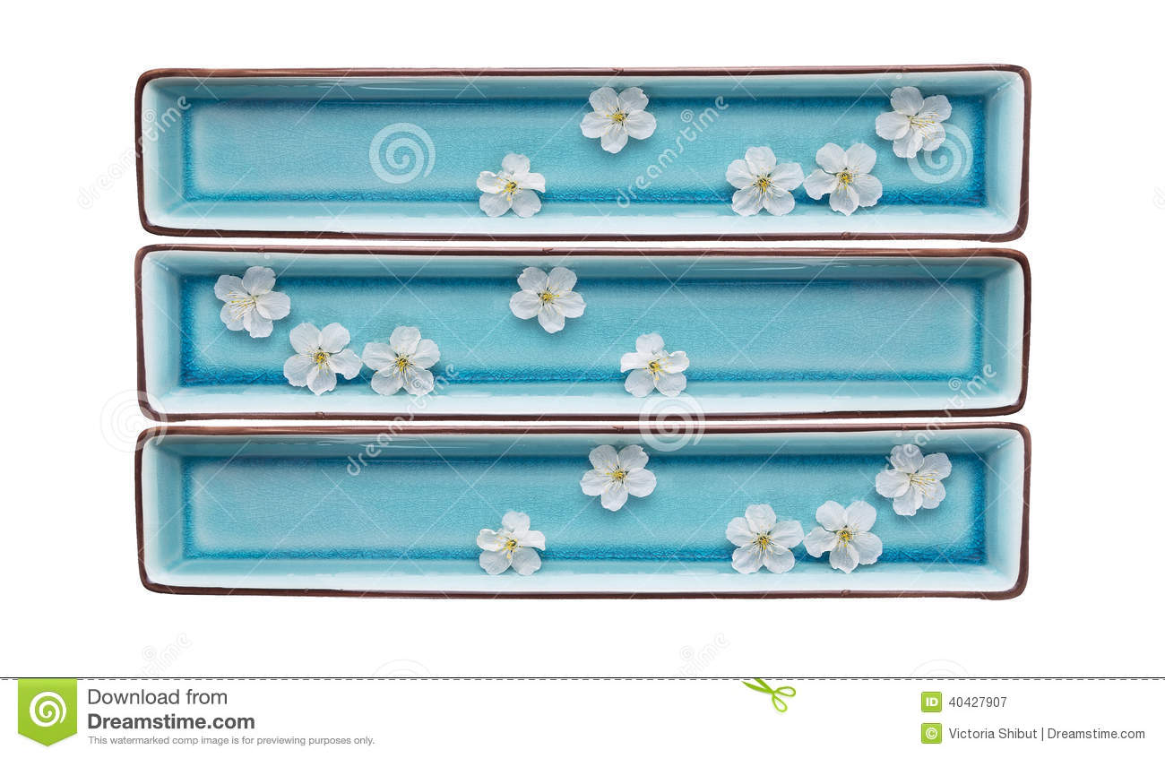 Download Rectangular Blue Bowls With Water And White Flowers,isolated Stock Image - Image of care, plant: 40427907