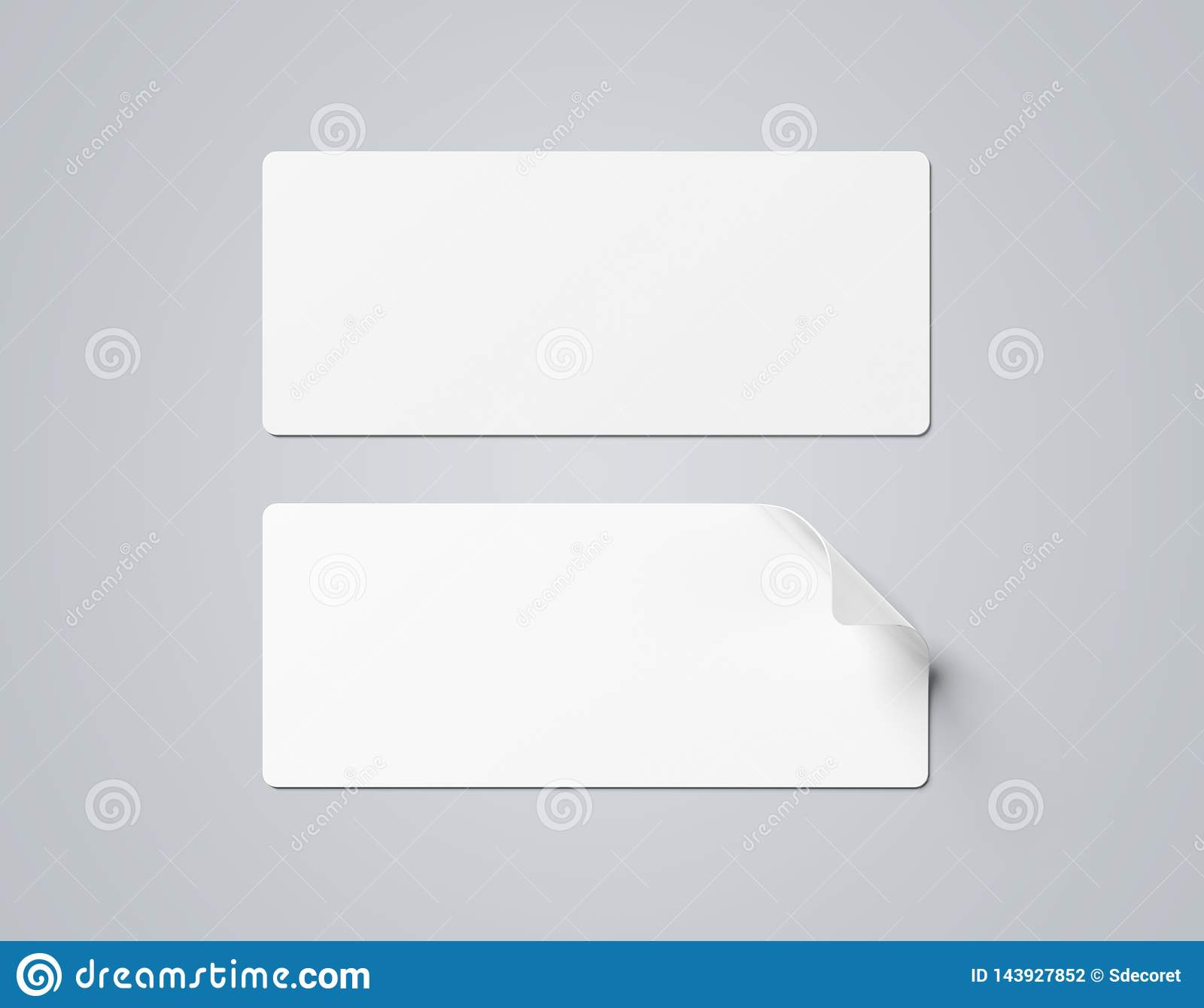 Rectangular Curled Sticker Mockup Isolated On Grey 3d Rendering