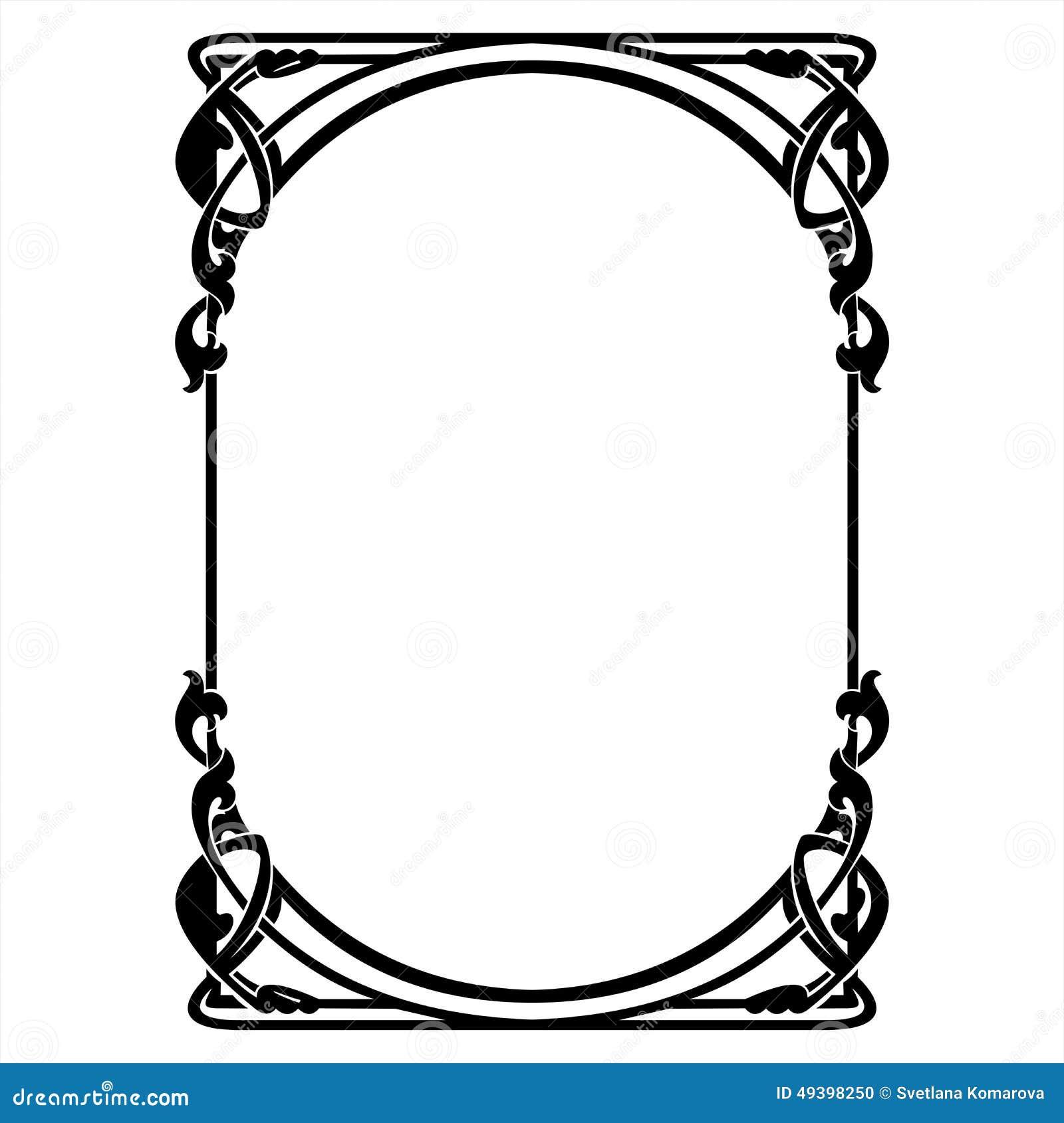 Art deco ornaments - Rectangular Decorative Frame With Art Nouveau Ornament