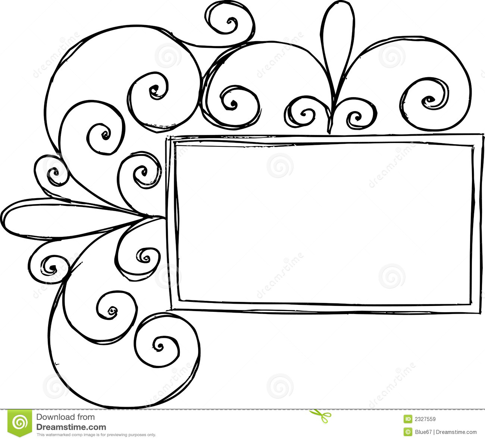 Rectangular Frame With Swirl Stock Vector - Illustration of