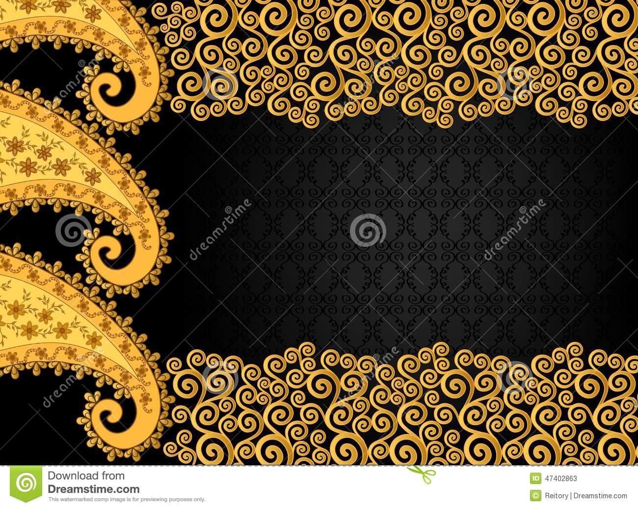 Rectangular Frame In Vintage Style With Large And Small Swirls Stock