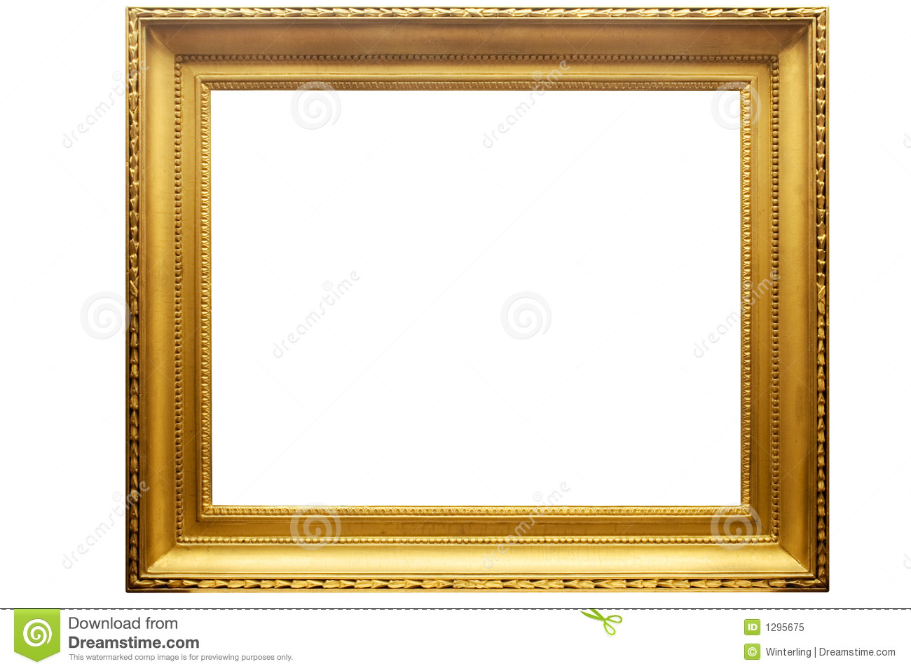 Rectangular Golden Picture Frame W/ Path Stock Image - Image of arts ...