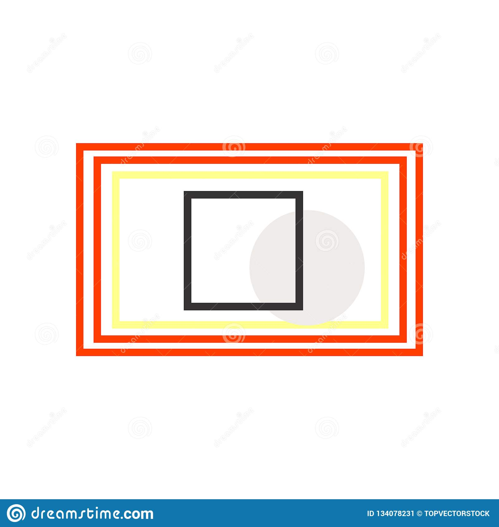 Rectangular icon vector sign and symbol isolated on white background, Rectangular logo concept